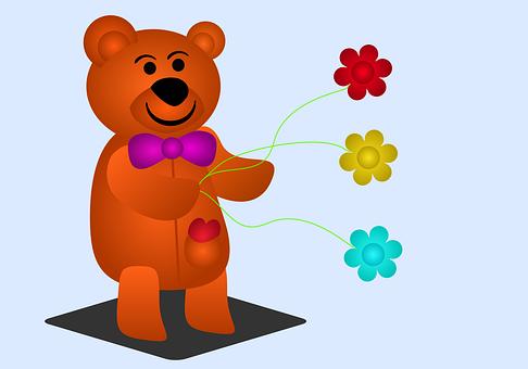 Bear, Happy, Flowers, Play, Teddy Bear, Animal