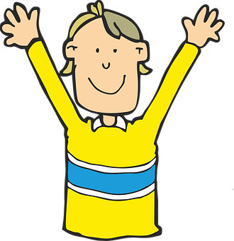Boy, Surprised, Happy, Smile, Arms, Yellow Shirt, Child