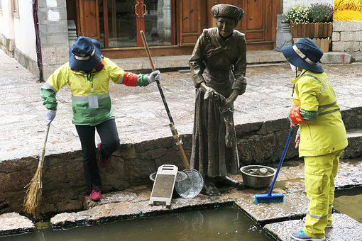 Statue, Cleaning, China, Conversation, Talk, Chat