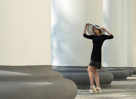 Woman, Model, Hat, Columns, Colonnade, Architecture
