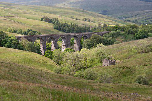 Railway, Valley, Dent Head Viaduct, Yorkshire Dales