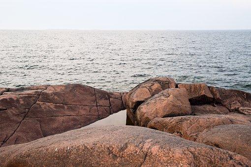 Rocks, Ocean, Sea, Sunset, Finnish Summer, Finland