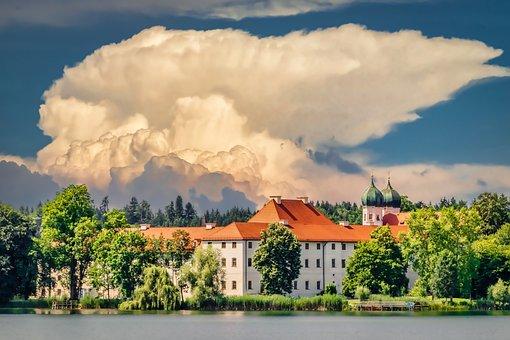 Monastery Seeon, Monastery, Bavaria, Lake, Church