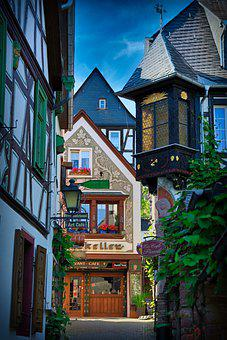 Rüdesheim, Street, Buildings, Half-timbered, Alley