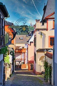 Rüdesheim, Town, Street, Buildings, Houses, Alley