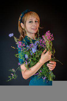 Flowers Of The Field, Bouquet, Girl With Flowers