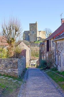 Town, Burgundy, France, Street, Alley, Castle