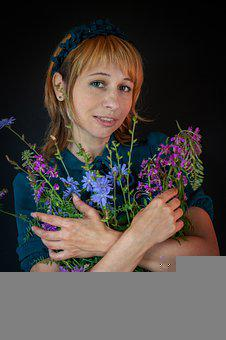 Wildflowers, Bouquet, Girl With Flowers