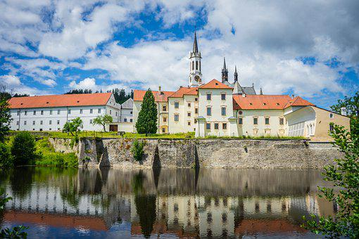 Monastery, Church, Abbey, Lake, Building, Reflection