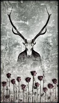 Skull, Roses, Skeleton, Death, Flowers, Fantasy, Dark