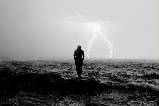 Lightning, Sea, Man, Storm, Rain, Thunder, Waves, Water