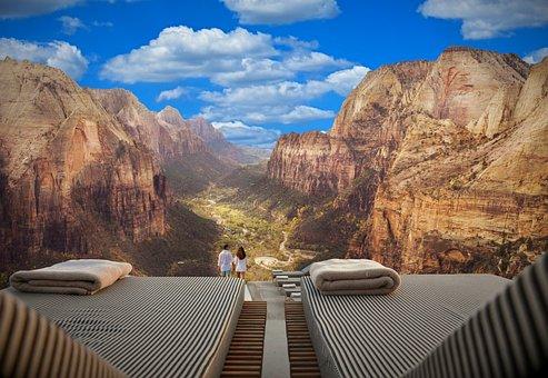 Couple, Mountains, Valley, Overlook, Balcony, Loungers