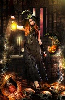 Woman, Witch, Pumpkins, Crow, Lamp, Skulls, Halloween