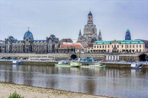 Dresden, Germany, River, City, Buildings, Old Buildings