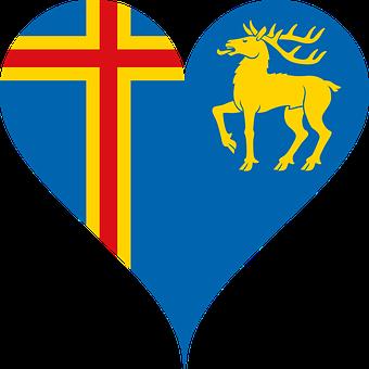 Aland, Flag, Heart, Coat Of Arms, Golden Red Deer