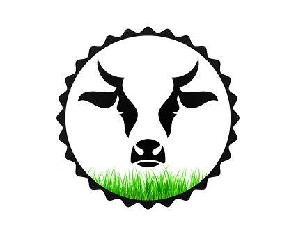 Bull, Grass, Symbol, Logo, Horns, Cow, Agriculture