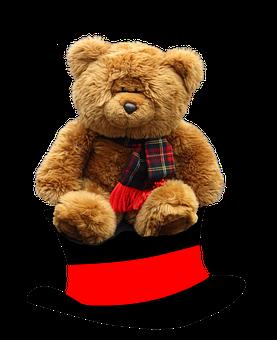 Top Hat, Teddy, Stuffed Animal, Plush Toy, Teddy Bear