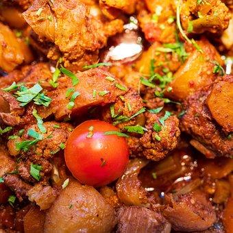Meat, Tomato, Cuisine, Dish, Potatoes, Herbs, Food
