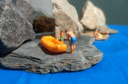 Rocky Coast, Dinghy, Miniature Figures, Stones, Summer