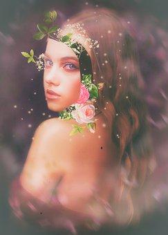 Beauty, Model, Flowers, Roses, Bohemian, Girl, Nude