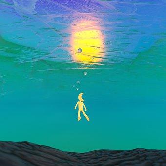 Moon, Fairy Tale, Fantasy, Swimming, 3d, Cartoon