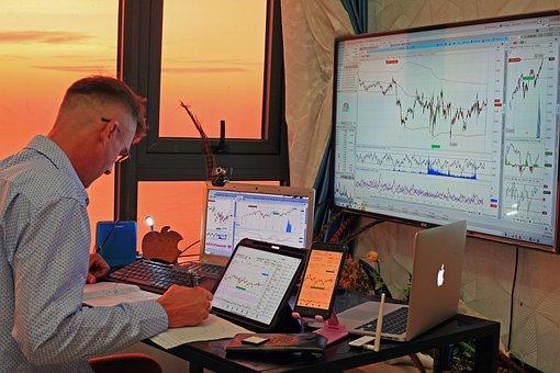Stocks, Trading, Trader, Monitors, Charts, Nasdaq