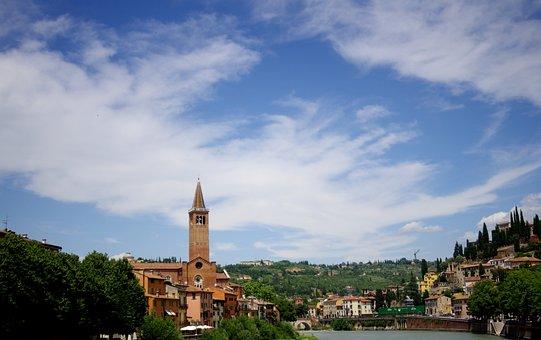 Santa Anastasia, Basilica, Verona, River, Town, Church
