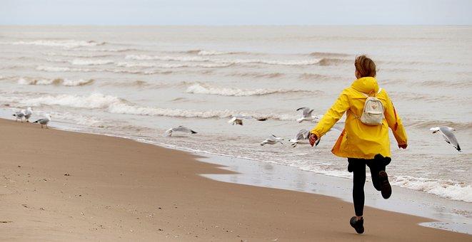 Beach, Woman, Rain Coat, Run, Seagulls, Birds, Coast