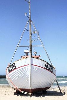 Boat, Fishing Boat, Coast, Sand, Wooden Boat, Mast