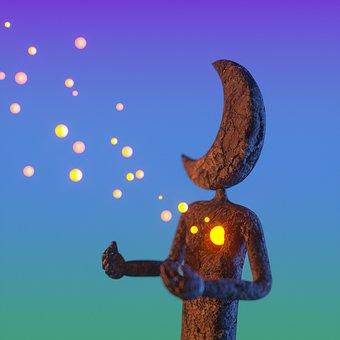 Statue, Moon, Heart, Lights, Scattered, Fairy Tale