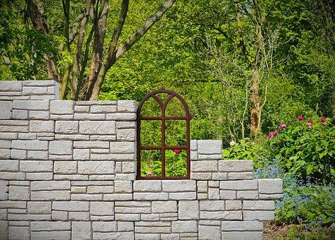 Wall, Window, Bricks, Garden, Architecture, Old