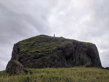 Mountain, Stone, Man, Top, Clumping, Kamchatka, Russia