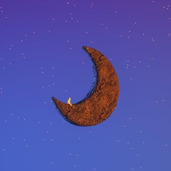 Moon, Statue, Stone, Wind, Evening, Fairy Tale, Fantasy