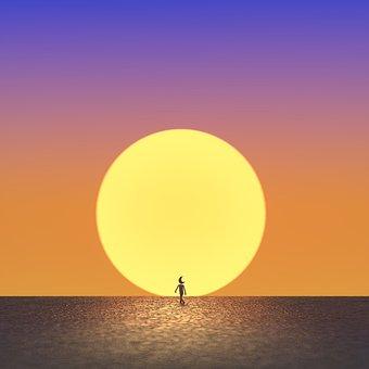 Moon, Sun, Sunset, Sea, Ocean, Dusk, Walk, Fairy Tale