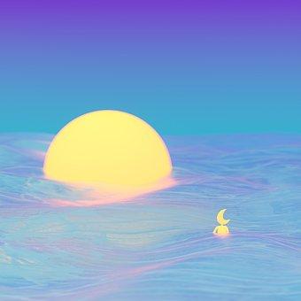 Moon, Sunset, Waves, Sun, Sea, Ocean, Dusk, Walk