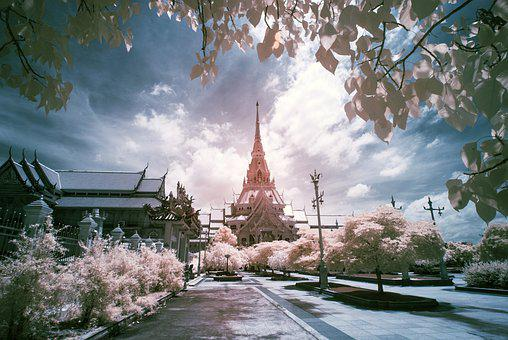 Temple, Cathedral, Road, Trees, Flowers, Facade, Famous
