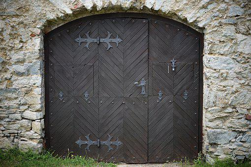 Entrance, Door, Gate, Old, Wooden Door, Wall