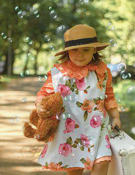 Girl, Kid, Bubbles, Soap Bubbles, Stroll, Summer, Child