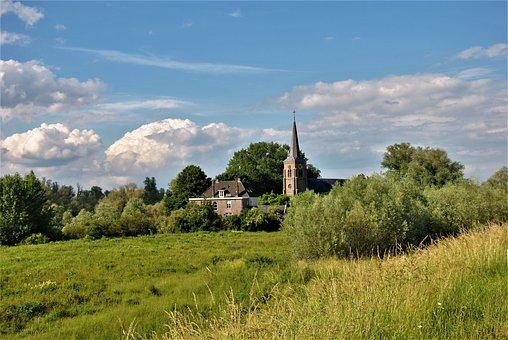 Church, Village, Ooij, Meadow, Grass, Landscape, Trees
