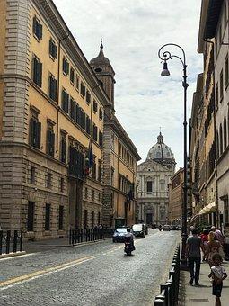 Rome, Italy, Street, Road, Buildings, City, Church