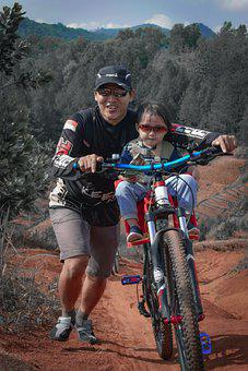 Child, Father, Bike, Hill, Sports, Girl, Kid, Bicycle