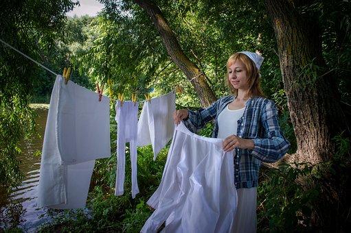 Wash, Woman, Laundress, Girl, Wash Clothes, Laundry