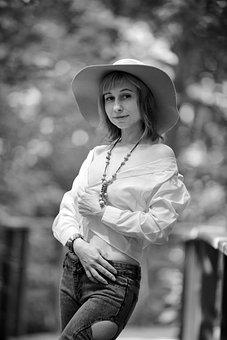 Woman, Portrait, Model, Hat, Young Woman, Modeling