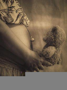 Pregnancy, Teddy Bear, Belly, Baby, Necklace, Pregnant