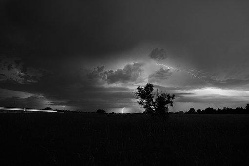 Thunderstorm, Lightning, Field, Black And White, Sky
