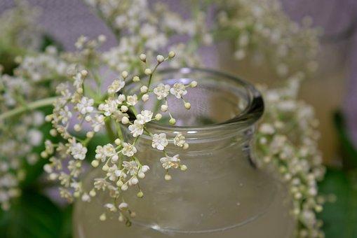 Elderflower, Elderflower Cordial, Glass, Jar