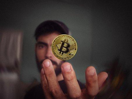 Bitcoin, Man, Hand, Coin, Cryptocurrency, Crypto