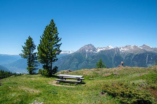 Mountains, Mortirolo Pass, Picnic Table, Bench
