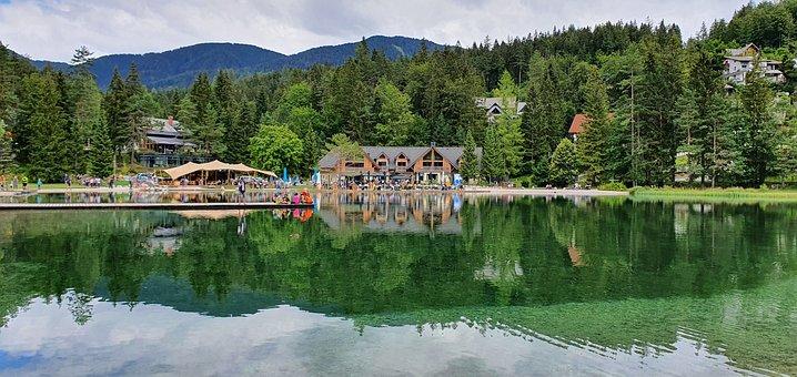 Lake, Trees, Bank, Hut, Mountains, Reflection