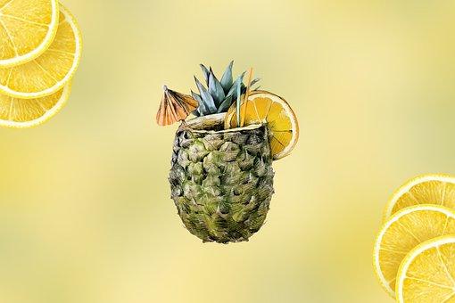 Pineapple, Orange, Slices, Cocktail, Citrus, Fruit